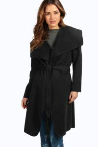 Boohoo Womens Petite Sinead Belted Shawl Collar Coat