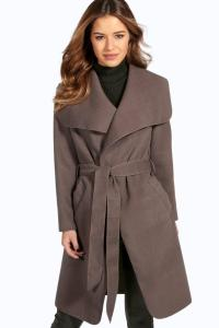 Shoptagr | Petite Sinead Belted Shawl Collar Coat by Boohoo