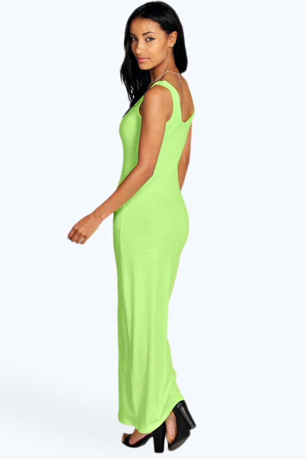 Boohoo Womens Petite Lauren Neon Scoop Maxi Dress