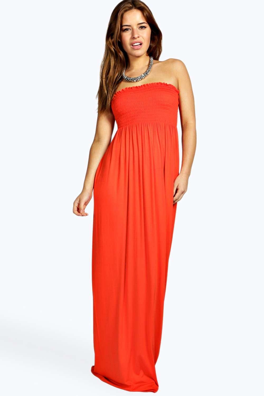 Boohoo Womens Petite Shelley Shirred Bandeau Maxi Dress