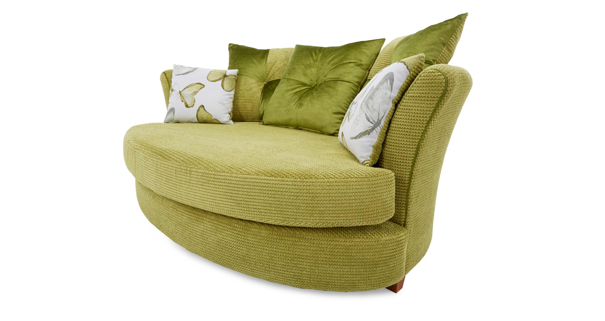 Lime Green Accent Chair Dfs Alegra Lime Green Fabric Cuddler Sofa And Patterned