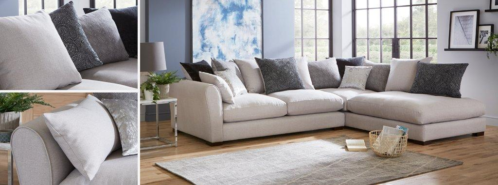 large chaise sofa dfs over sized ariana pillow back left hand facing arm corner group zahara