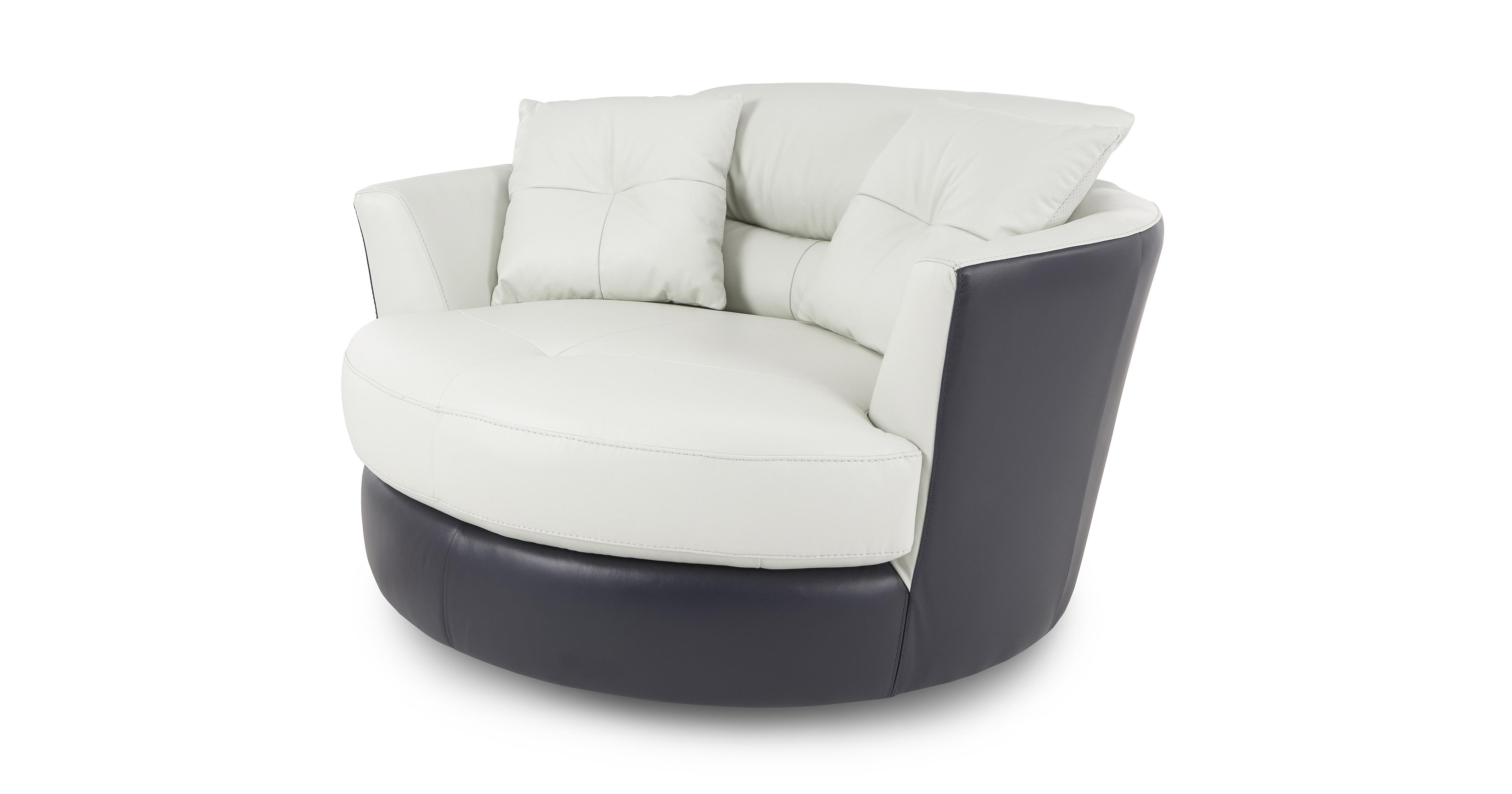 swivel chair and a half tables chairs price dfs azure 100 real aqua white leather set inc