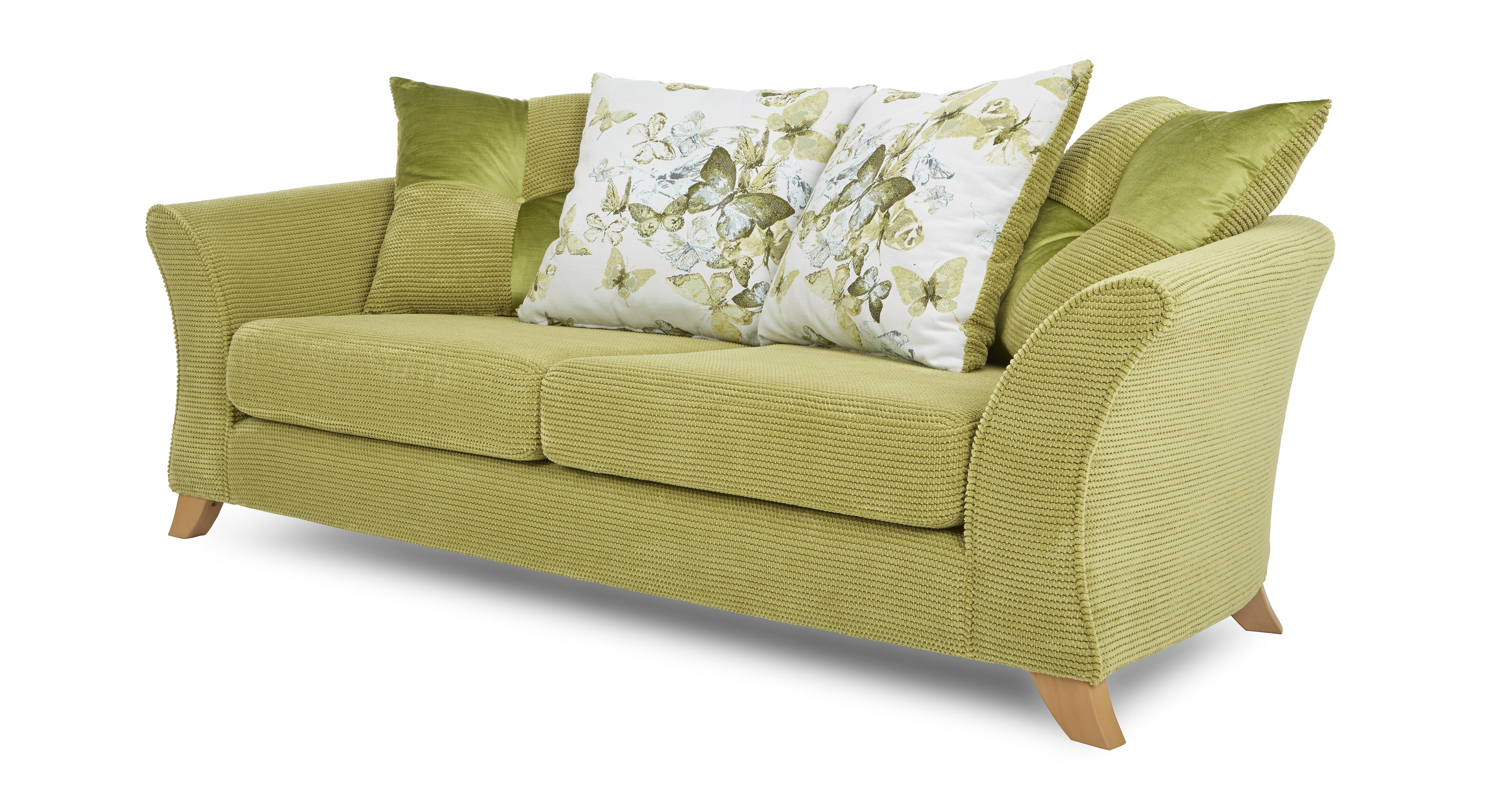 lime sofa uk comparison dfs corinne green fabric 3 seater pillow back ebay