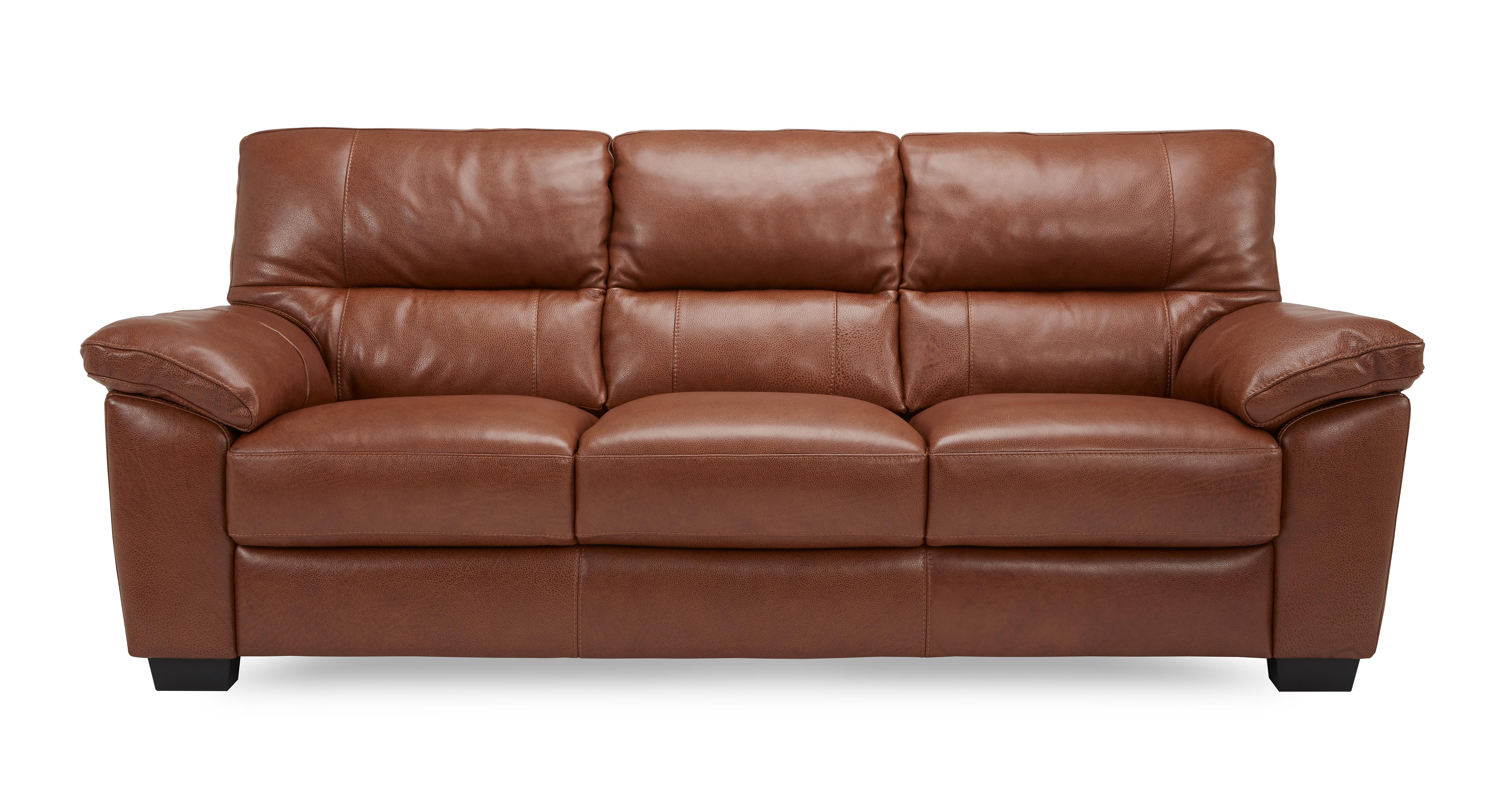 Dalmore Leather And Leather Look 3 Seater Sofa Brazil With
