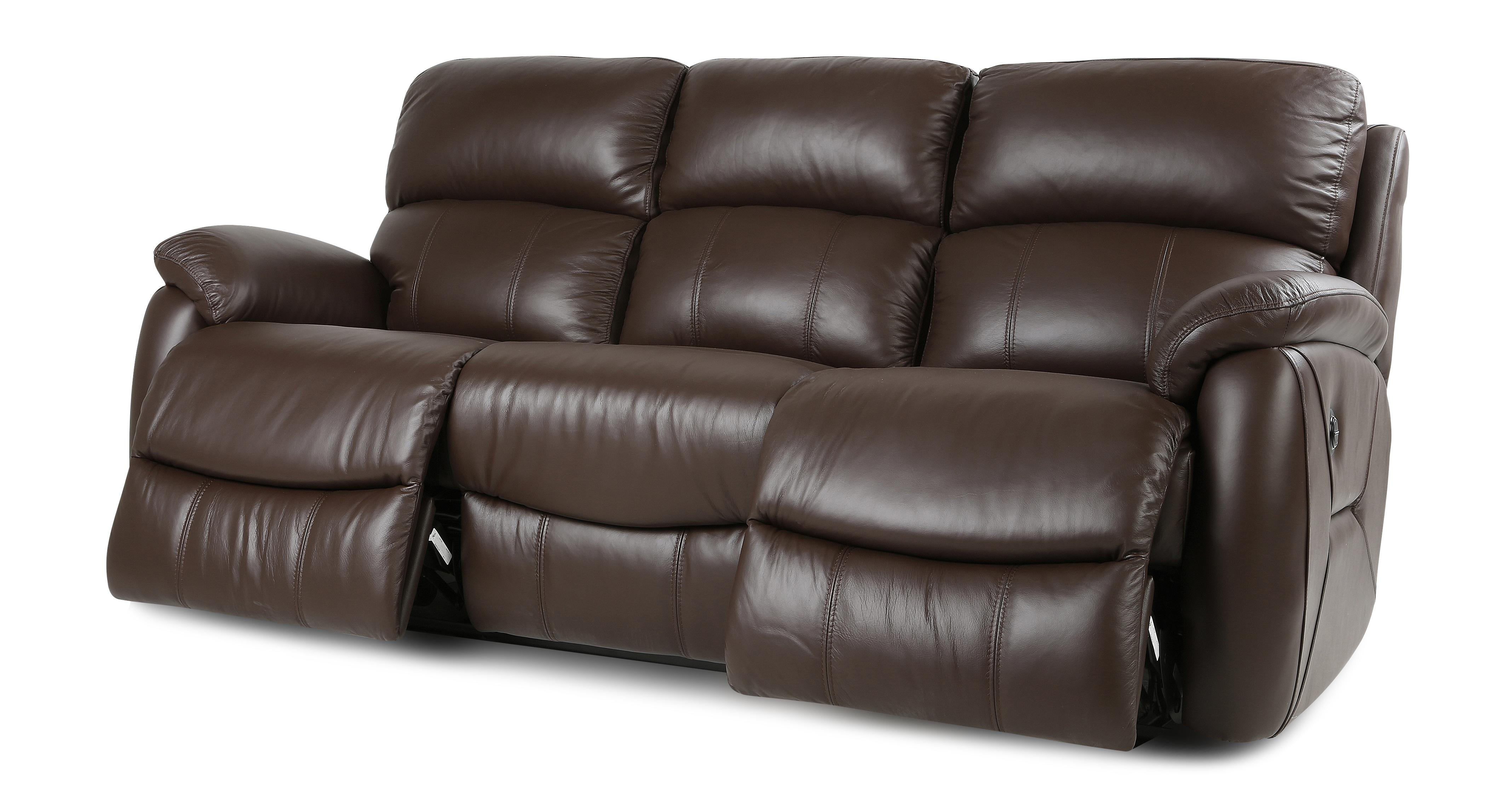 brown leather recliner sofa uk s sofas dfs navona couch settee 3 seater power