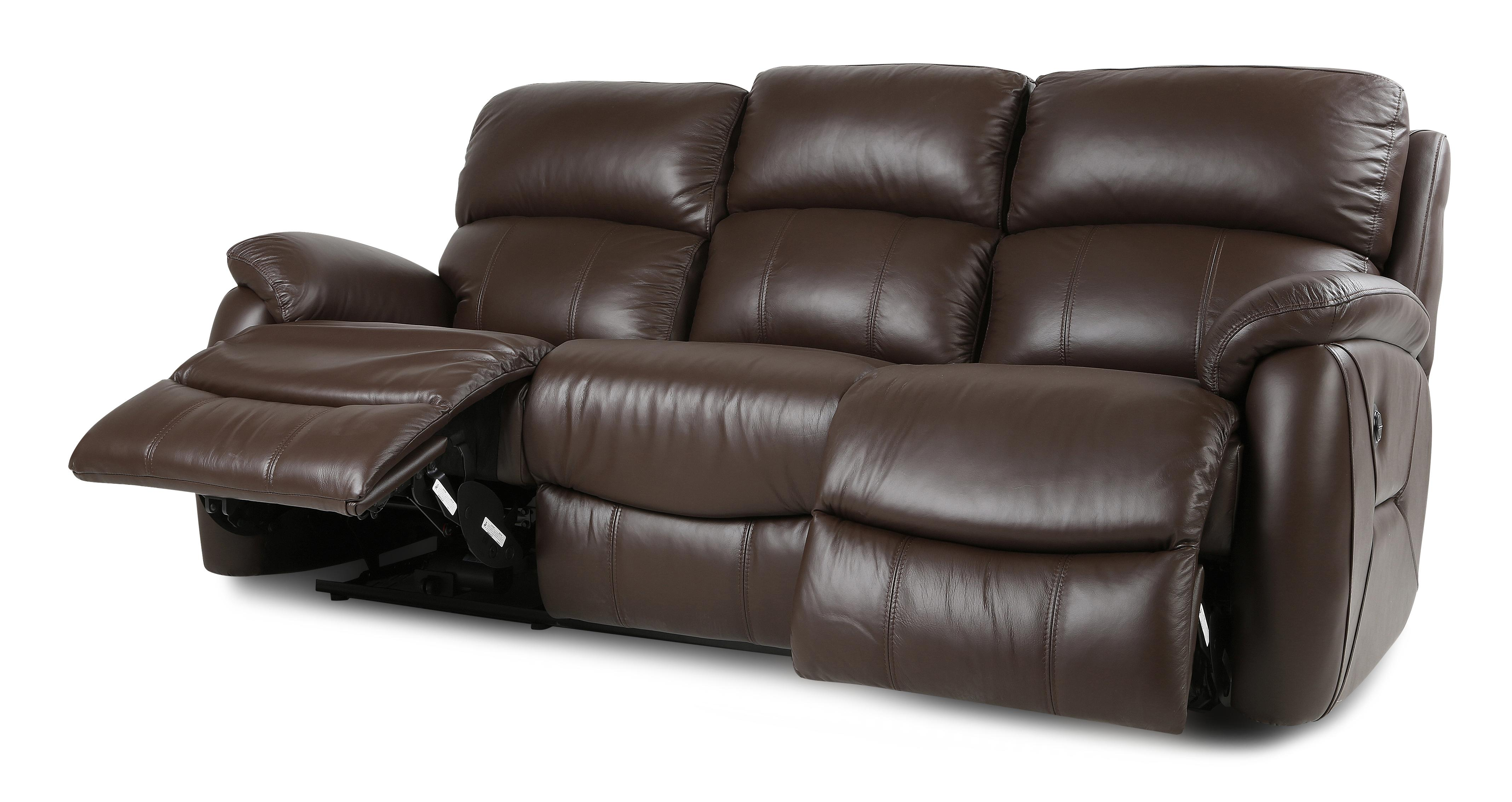 dfs recliner sofa bed bunk uk navona couch brown leather settee 3 seater power