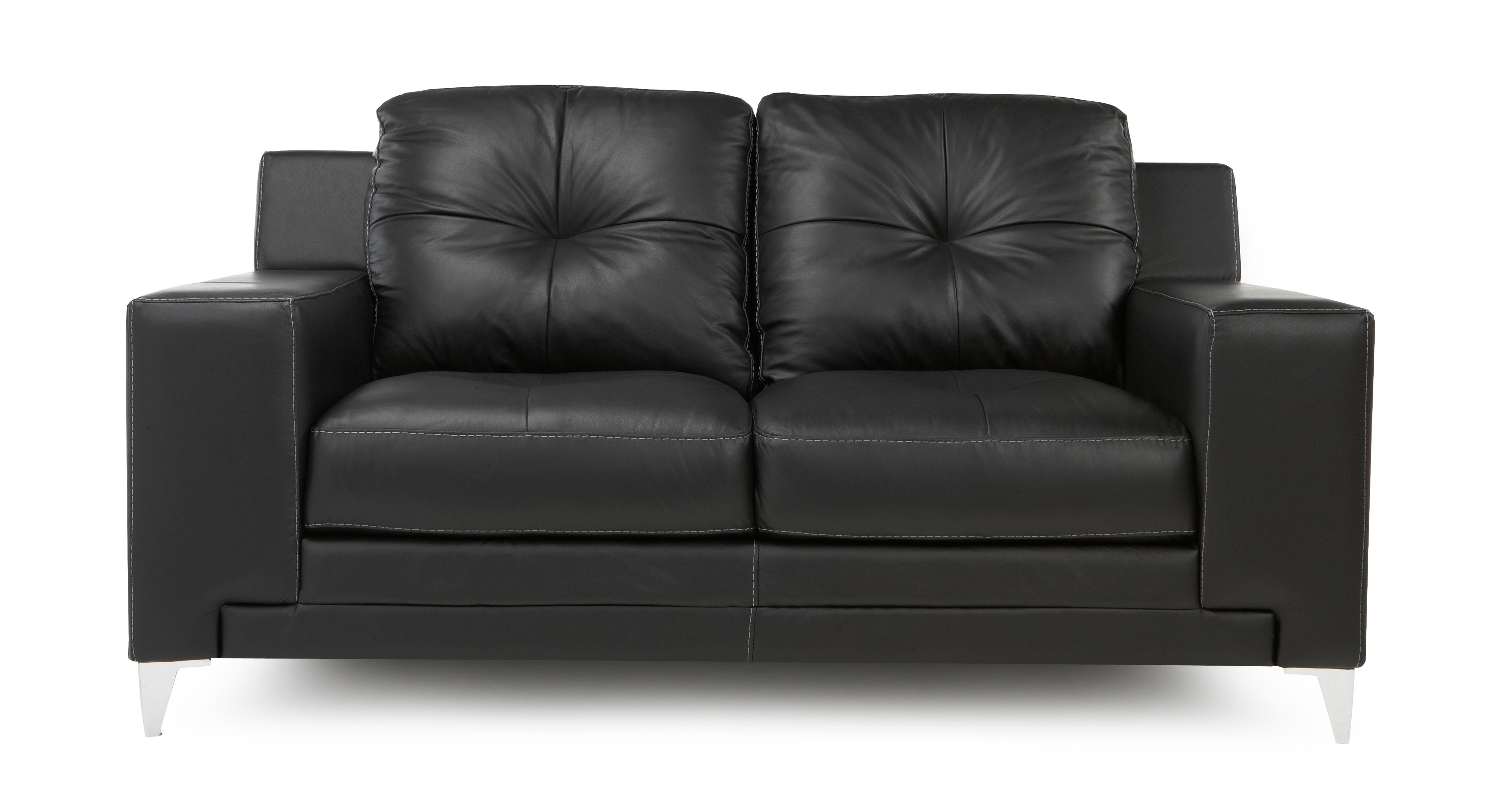2 seater leather sofas at dfs puzzle sofa sectional domain set black with chair ebay