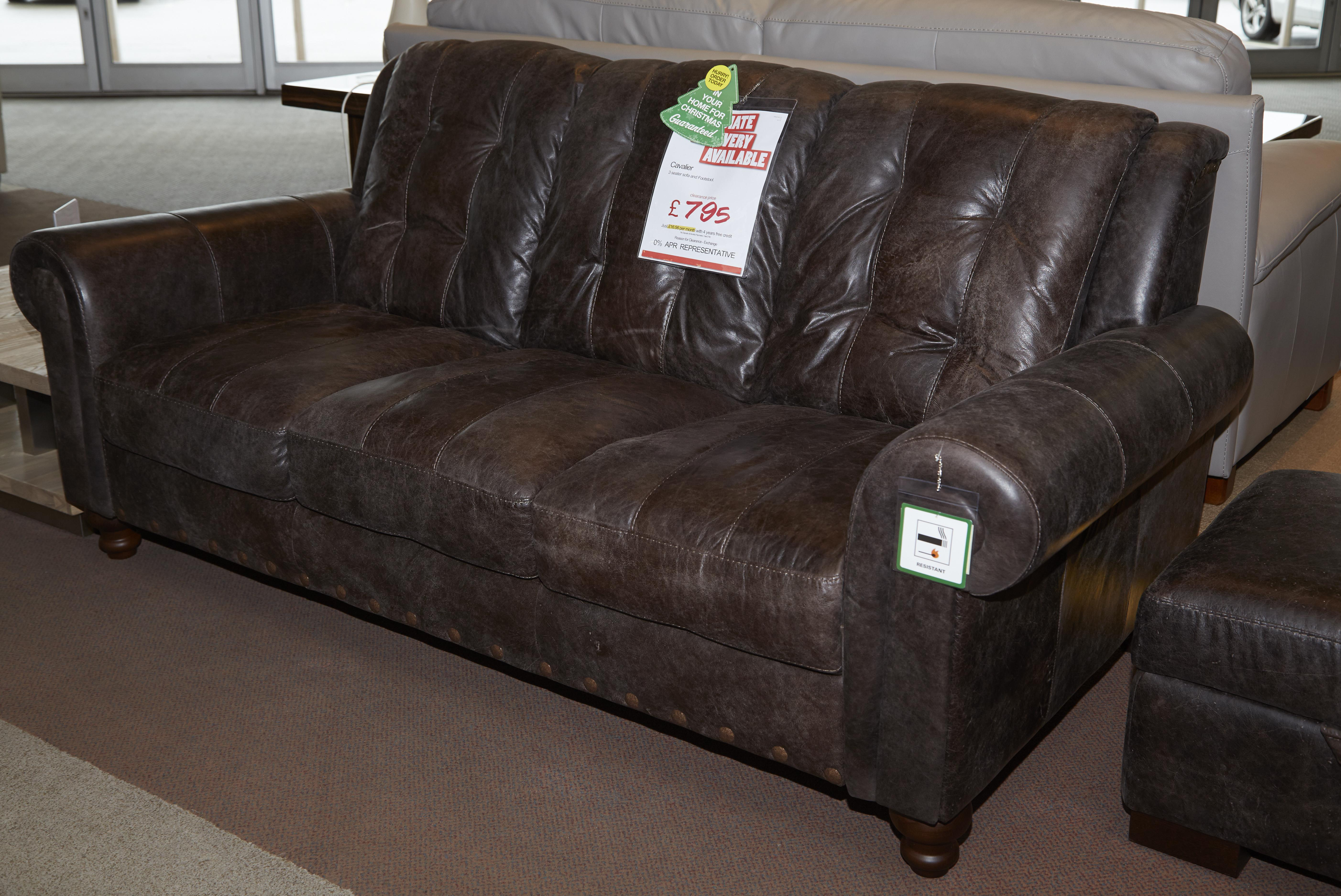 3 seater leather sofa dfs patchwork chesterfield bed cavalier set and storage foot