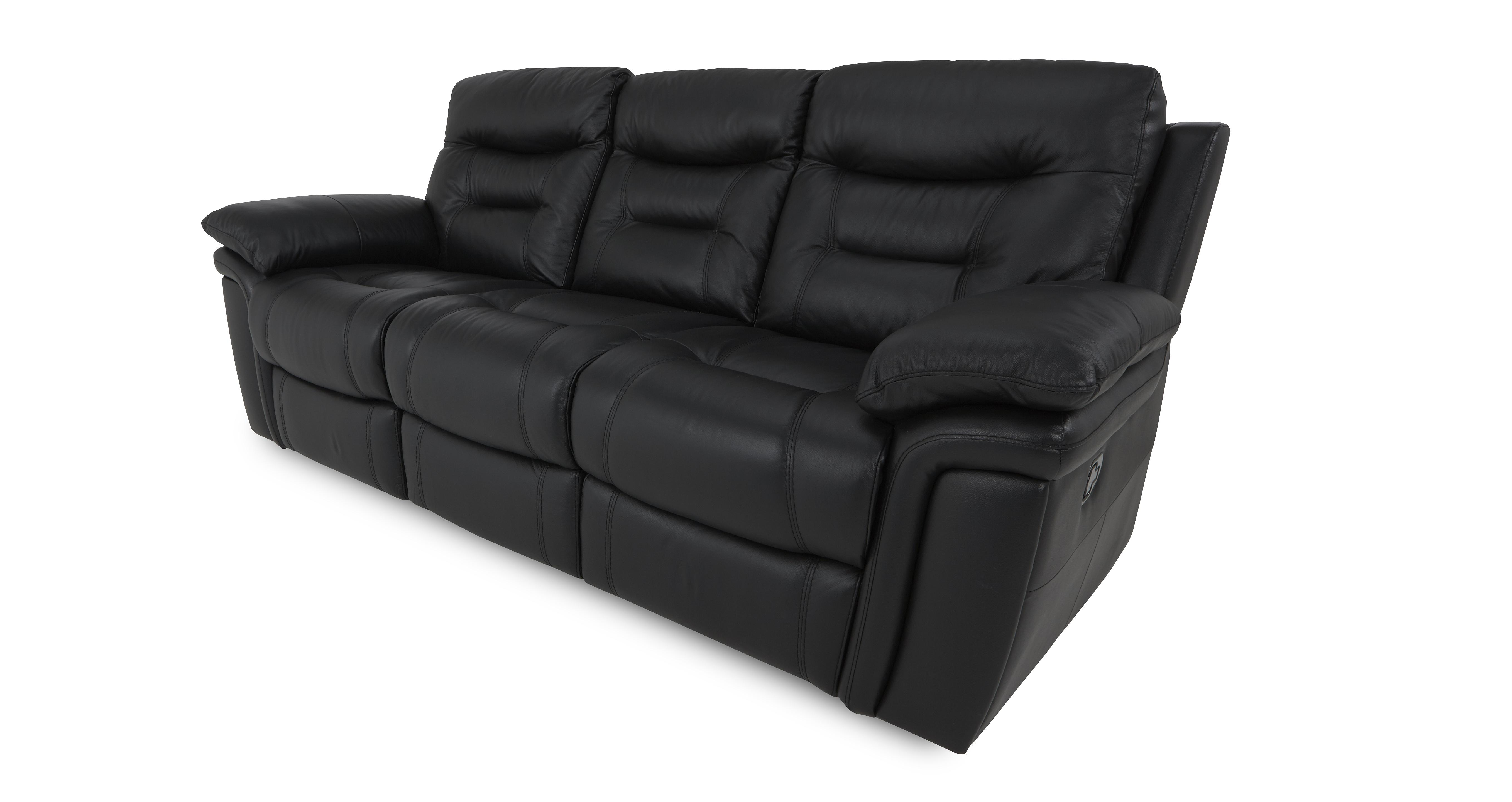 3 seater leather sofa dfs extra deep sectional evolution black manual recliner
