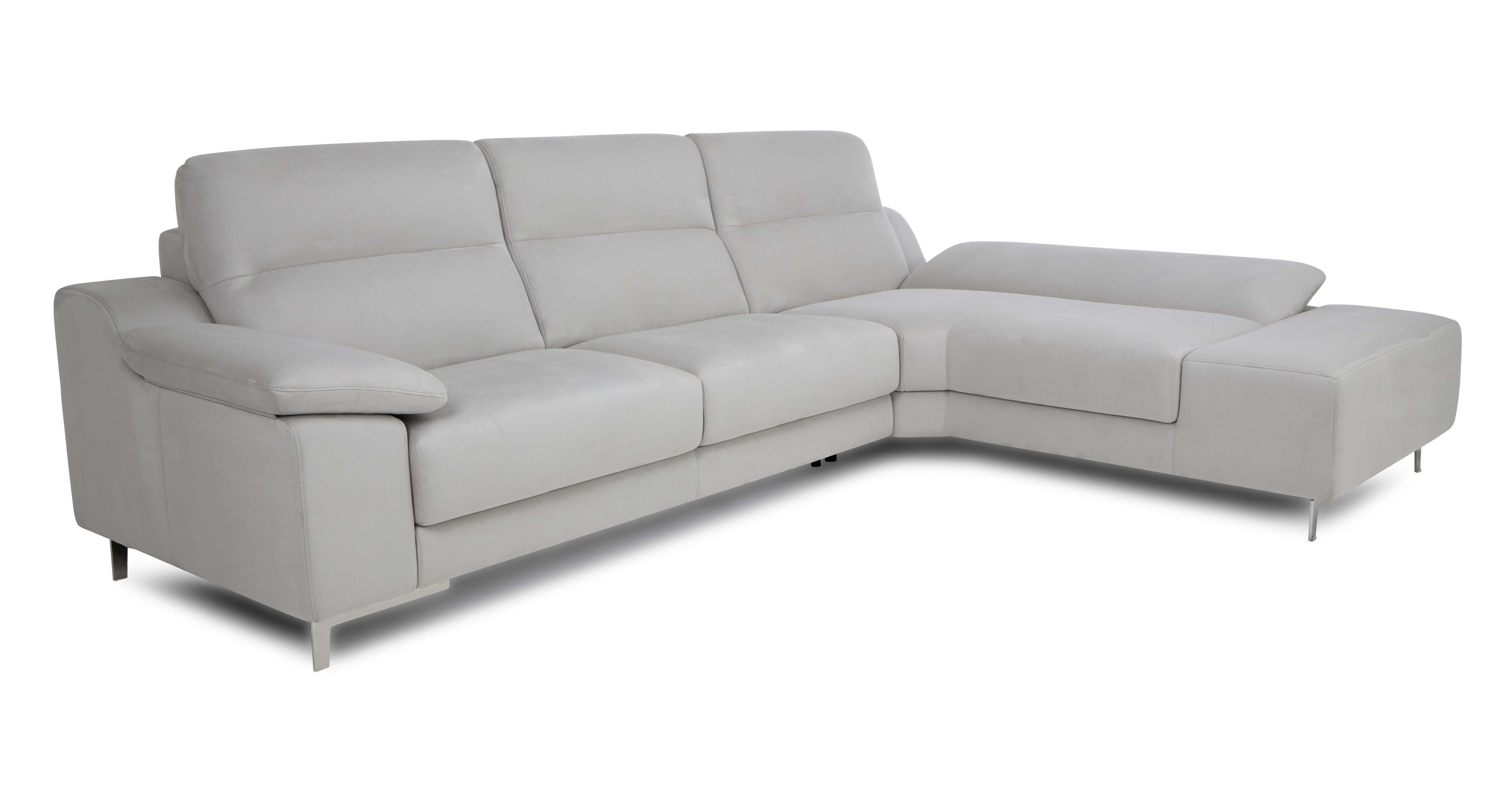 dfs corner sofa grey fabric sectional reclining sofas guest silver left hand bed