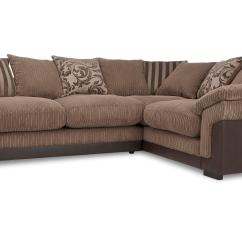 Brown Fabric Corner Sofa Dfs Newton Rolled Arm Chaise Convertible Bed Hallow With Foam Base