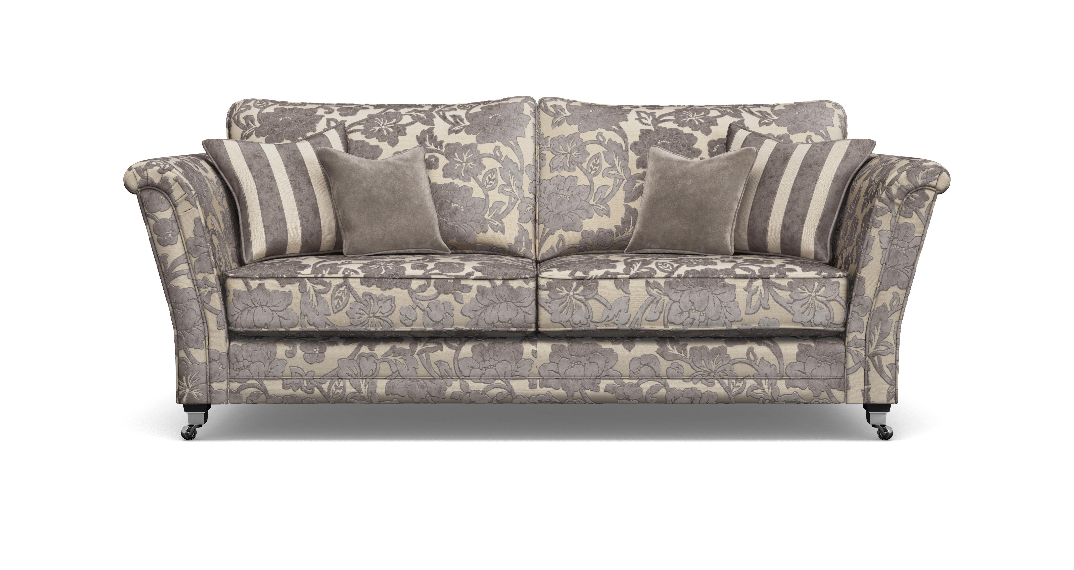 striped fabric sofas uk apartment size sofa with chaise dfs hogarth mink floral 3 seater and 2