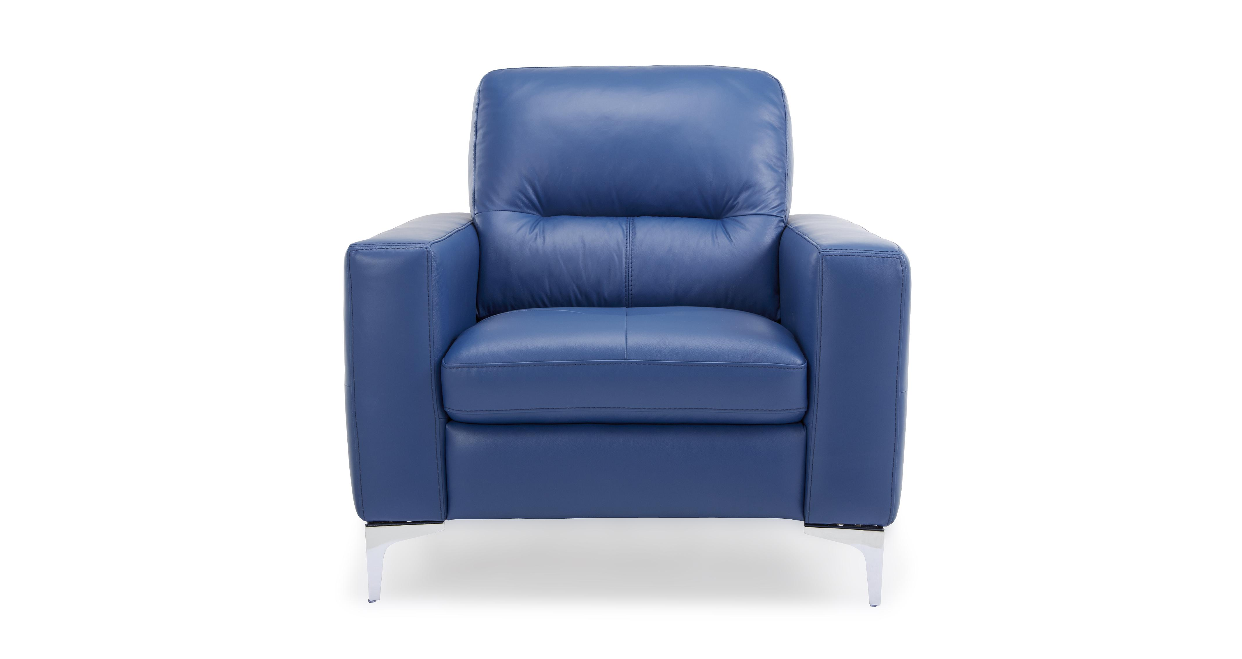bedroom chair dfs folding chairs and table set klein blue leather sofa inc chaise swivel
