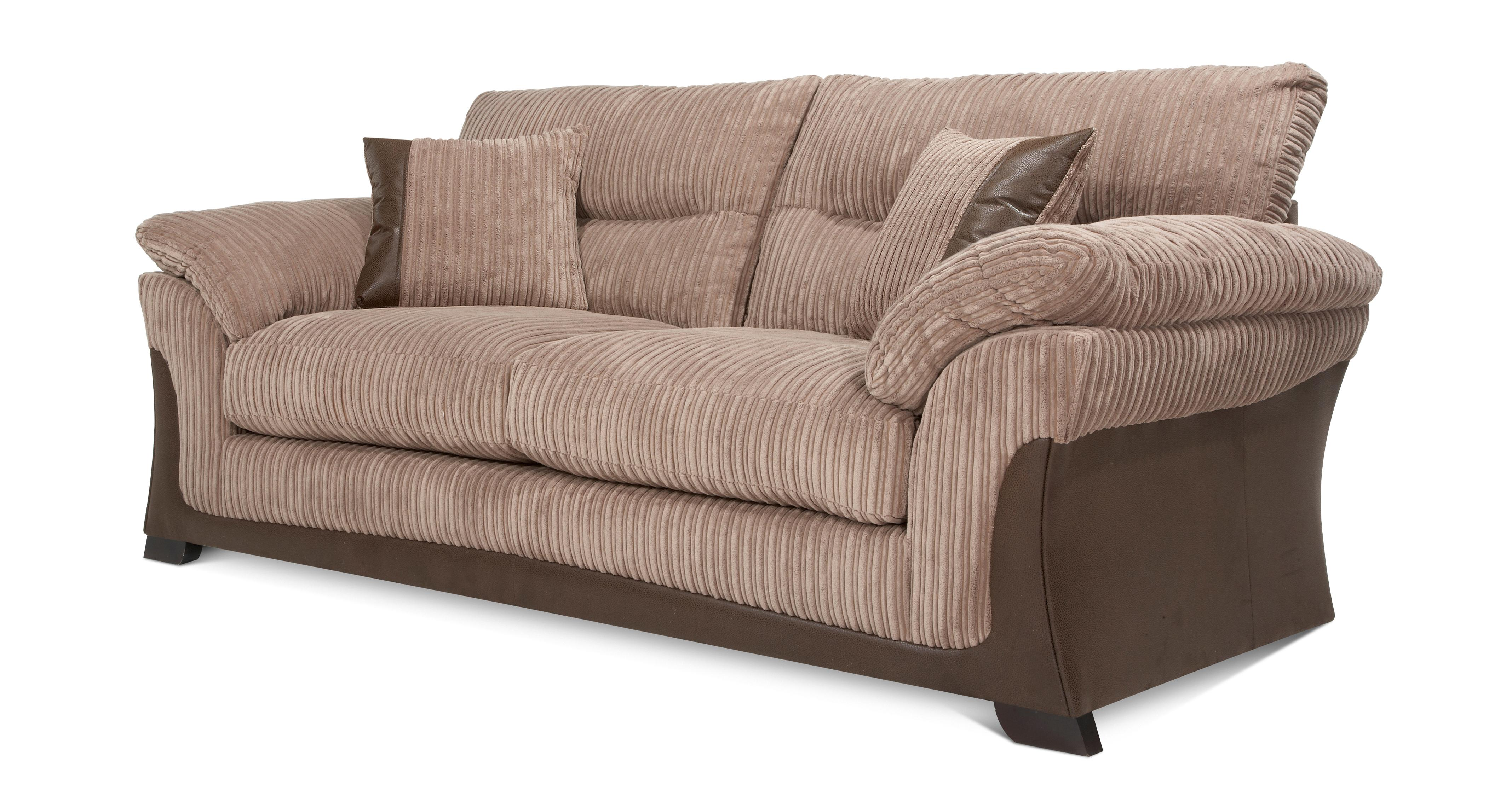 leather sofa brown dfs sectional sofas free shipping no tax langley nutmeg 3 seater fabric ebay