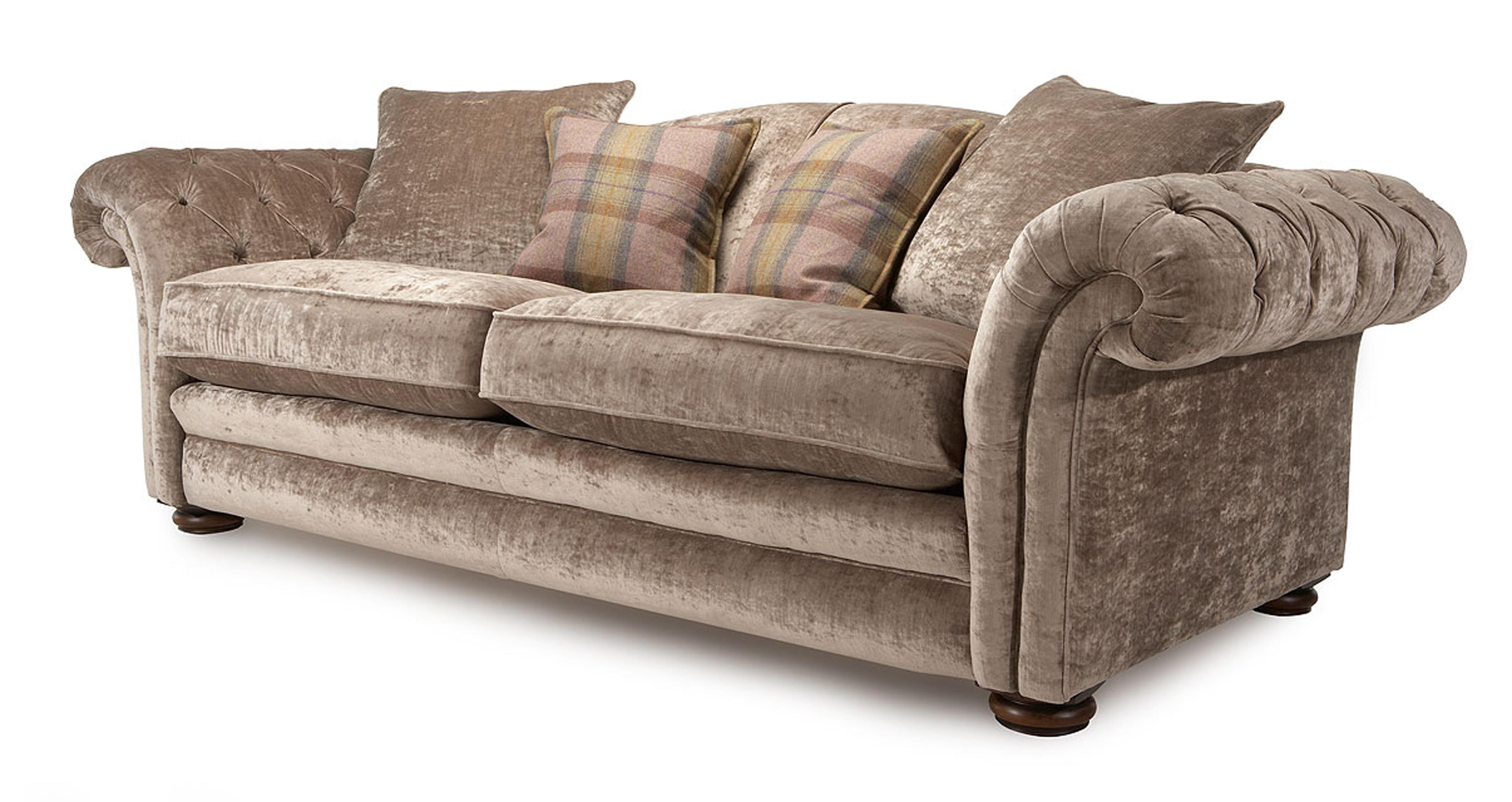new sofas dfs furniture row sofa mart reviews material freya silver fabric 4 seater