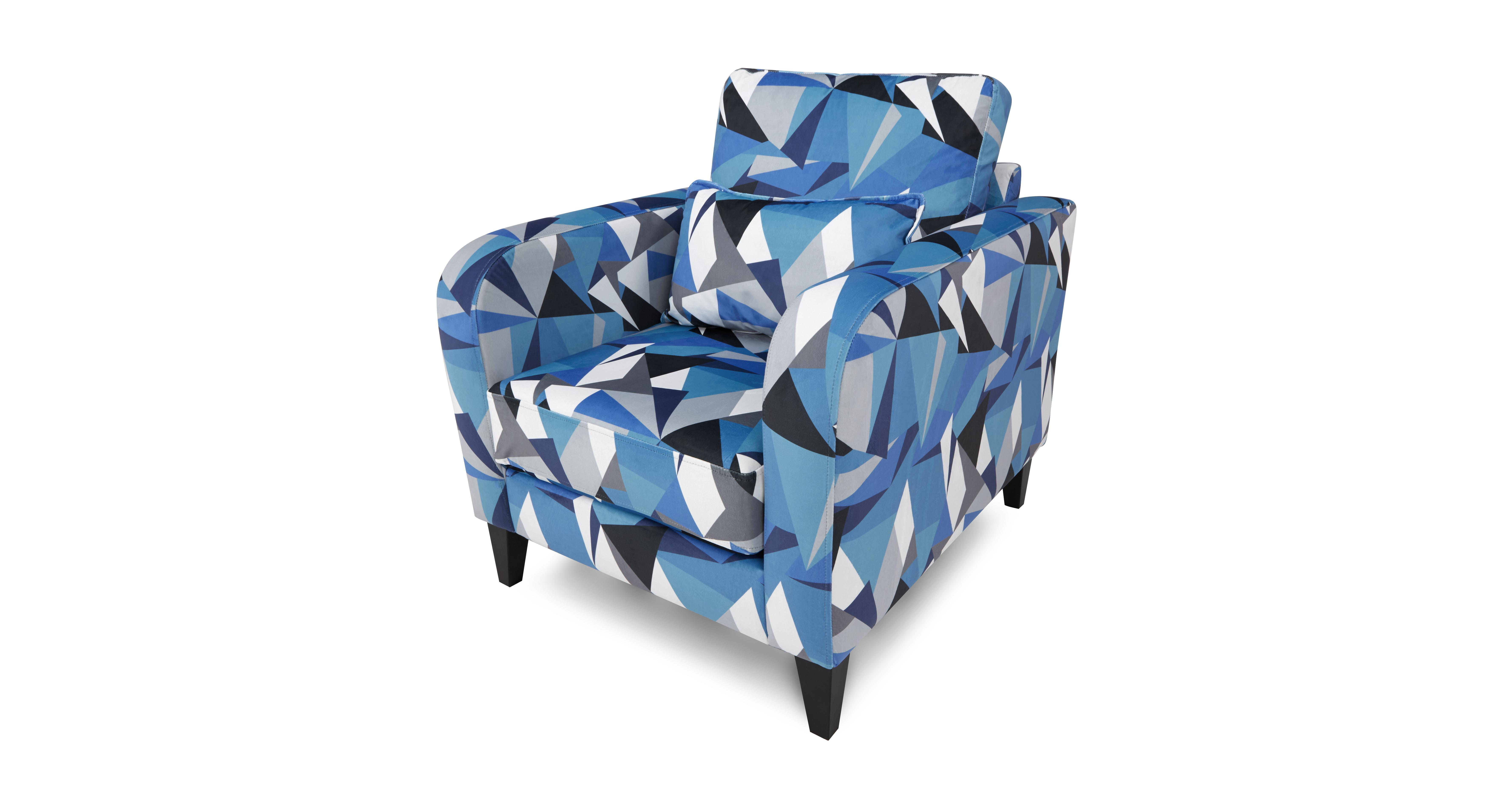 blue pattern accent chair cheap tables and chairs for restaurants dfs lustre fabric