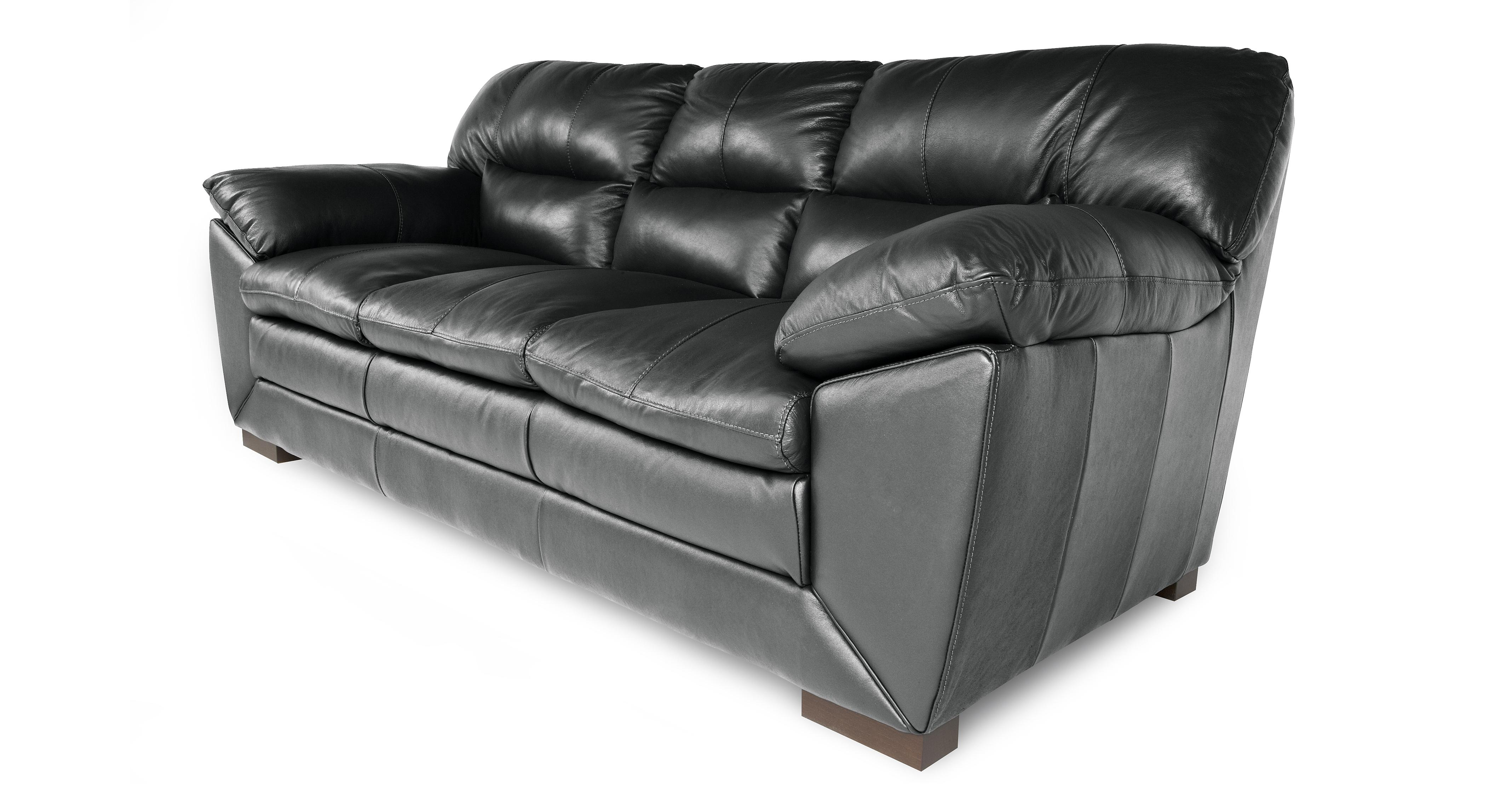 3 seater leather sofa dfs sofas phoenix new valiant black ebay