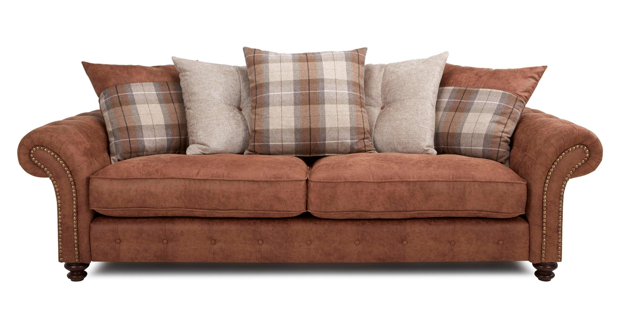 DFS Oakland Brown Fabric 4 Seater Pillow Back Sofa 2