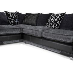 Corner Sofa And Swivel Chair Microfiber Chaise Lounge Shannon Black Fabric Set Inc 2