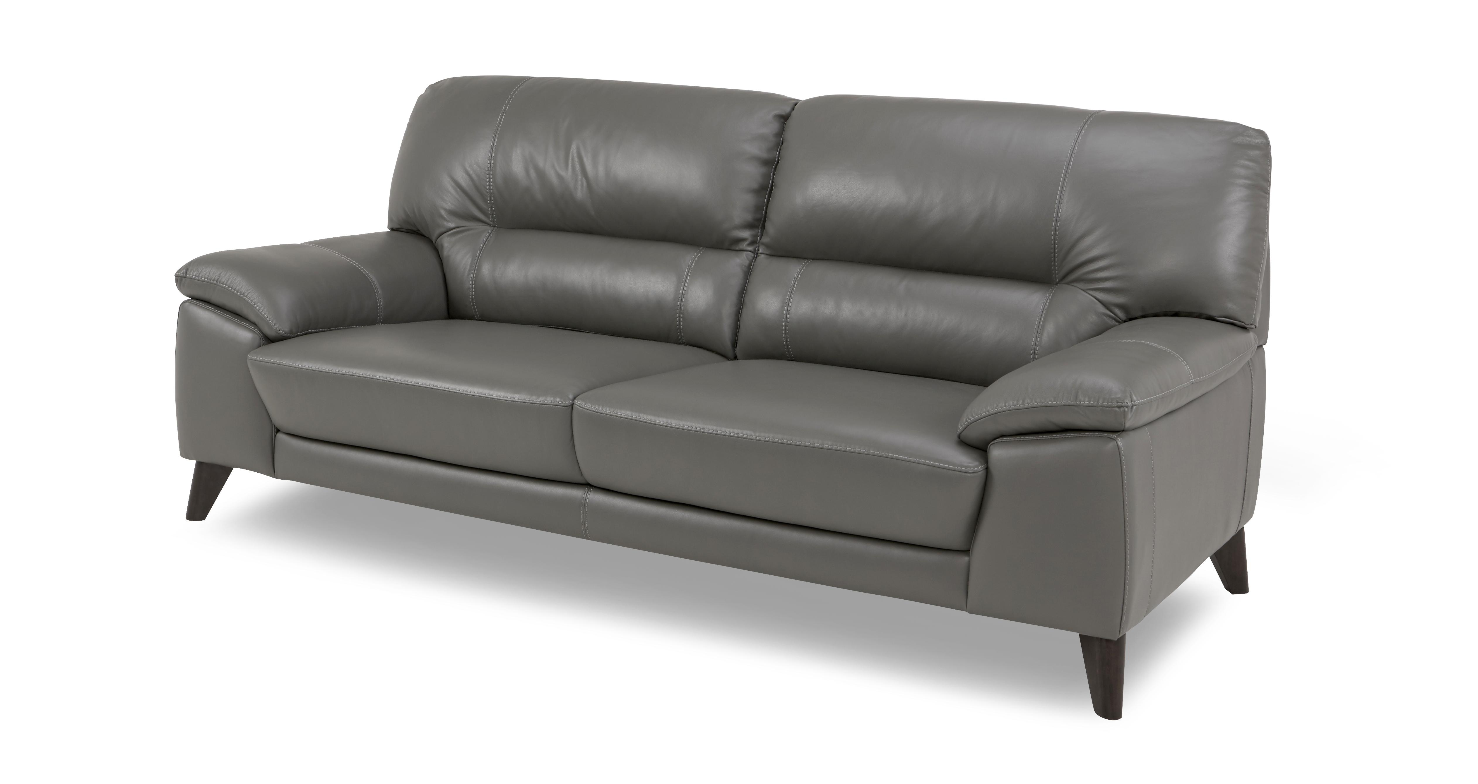 3 seater leather sofa dfs benson beds trident graphite grey ebay