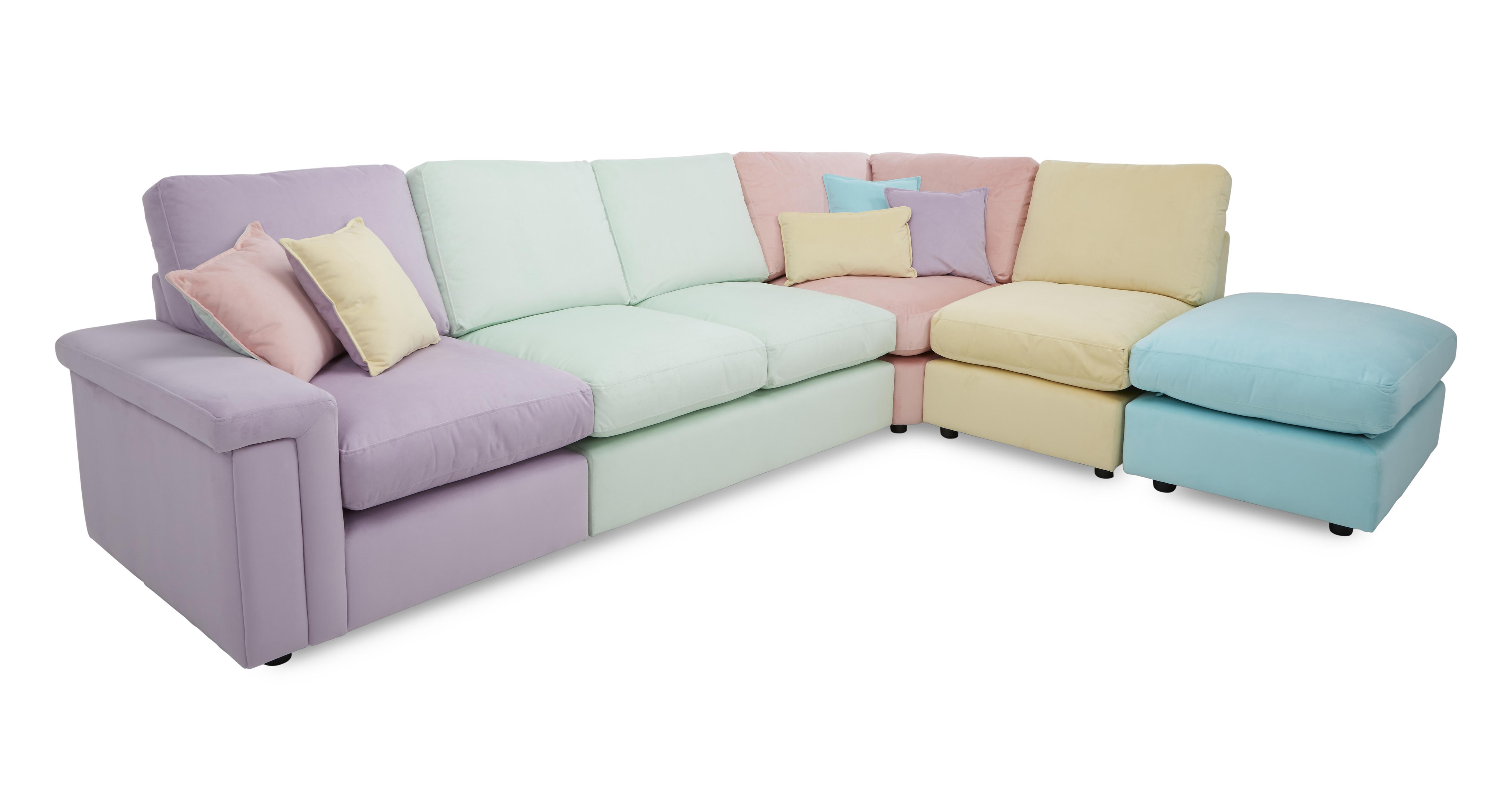 bedroom chair dfs diy hanging tropica multi coloured fabric sofa set - corner sofa, & stool (54821) | ebay