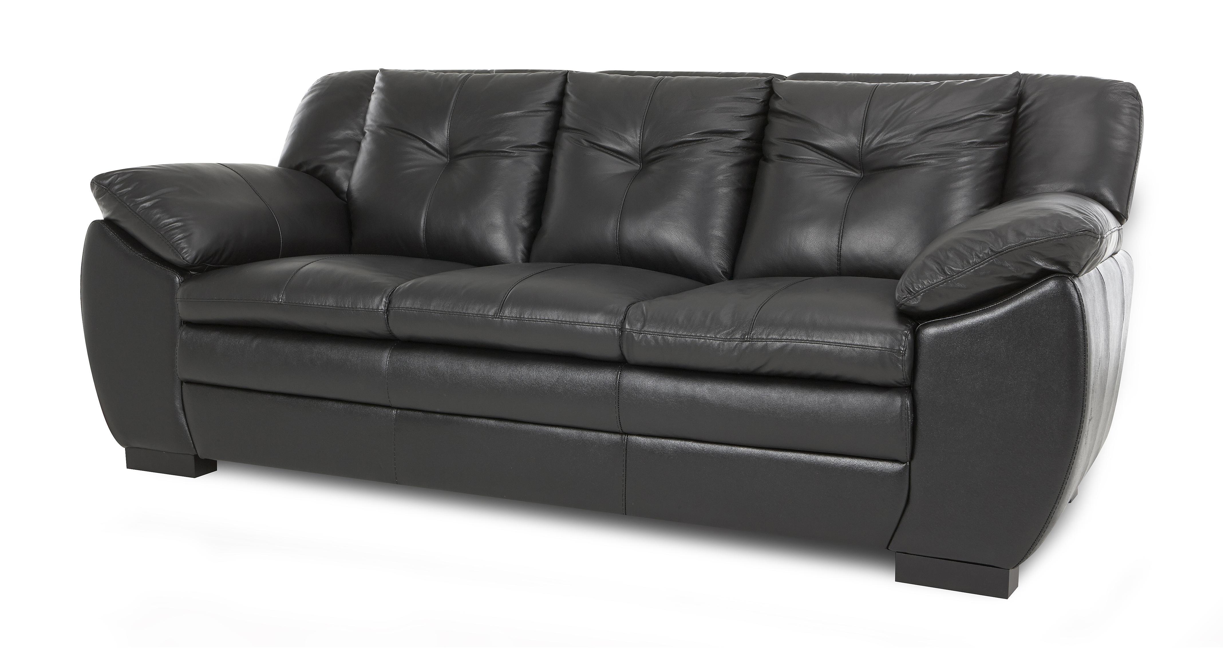3 seater leather sofa dfs sofas on a budget warrant black ebay