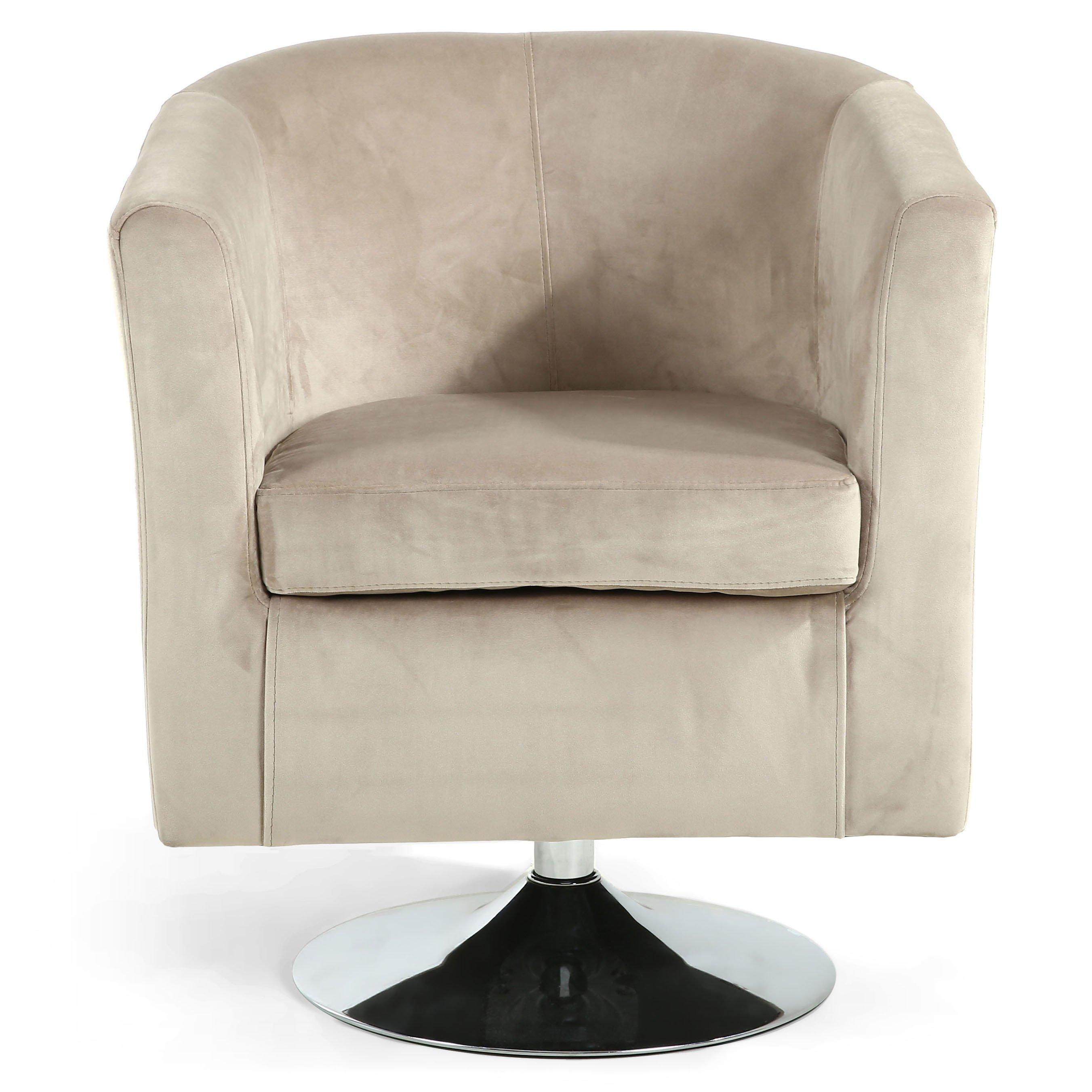 Swivel Tub Chair Brushed Velvet Swivel Tub Chair