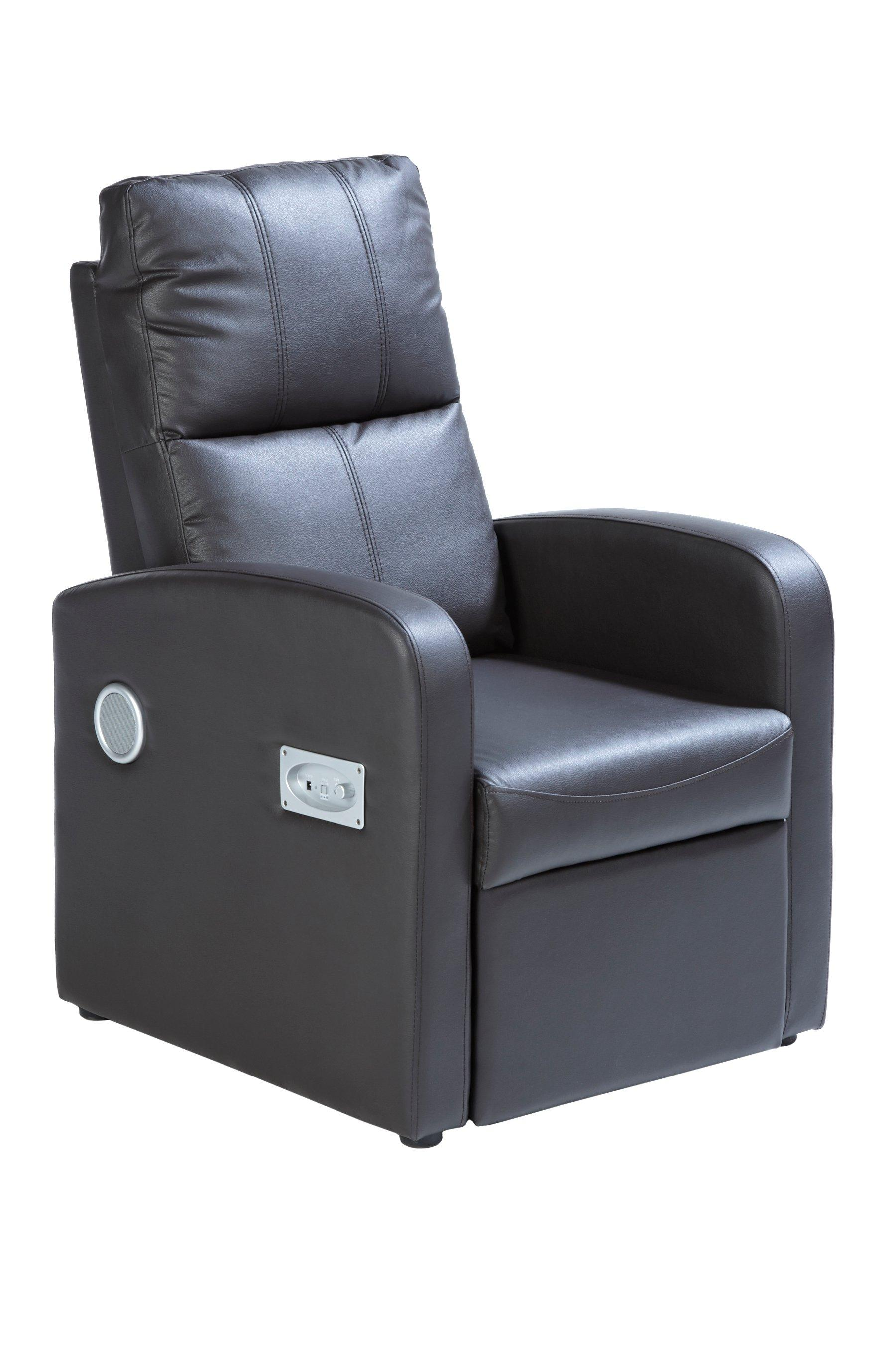 chair with speakers zimmer frame wheelchair faux leather pushback black brown recliner