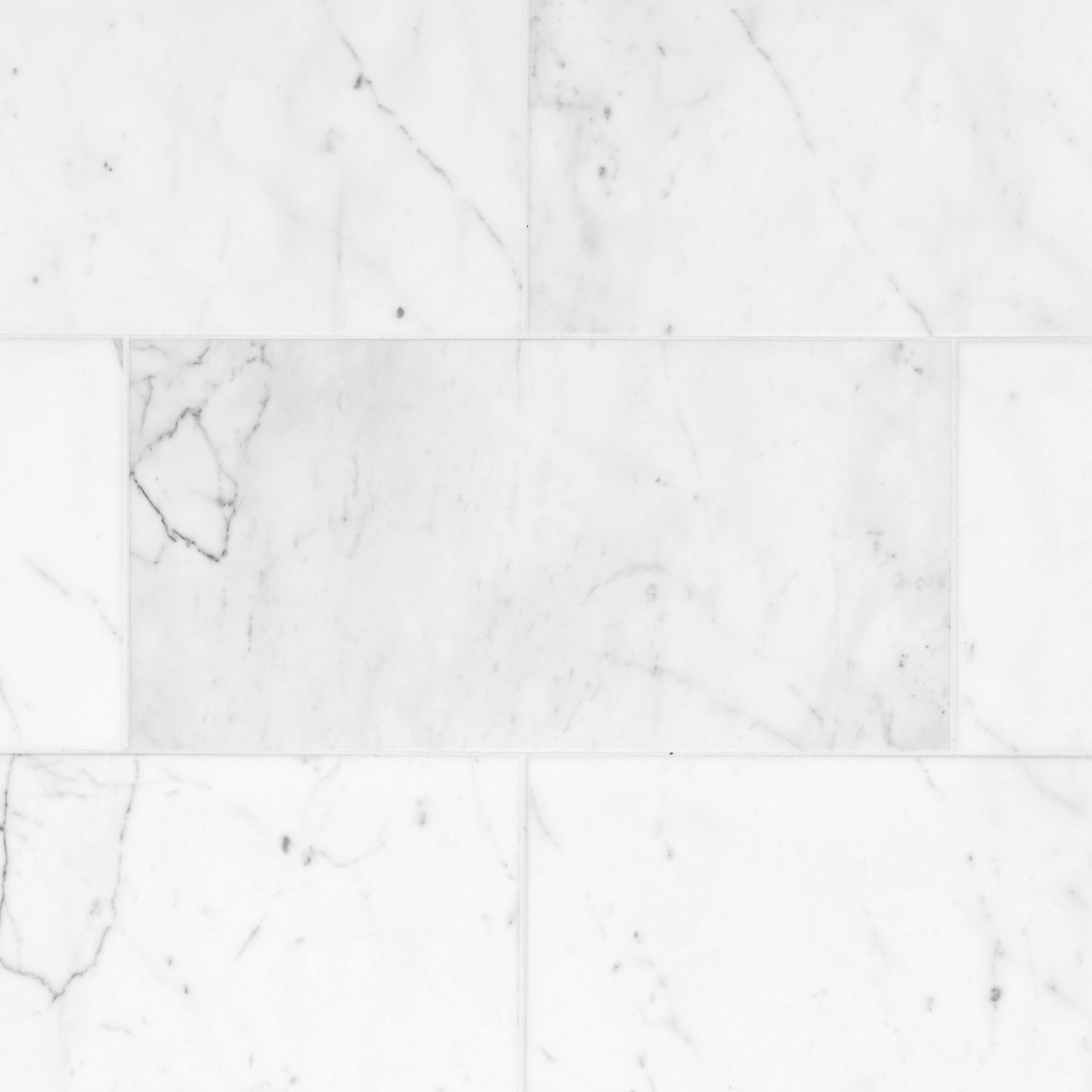 Statuario Classic Polished Marble Tile  12in x 24in