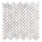 Carrara Chateau Herringbone Honed Marble Mosaic 11 X 11 100701929 Floor And Decor