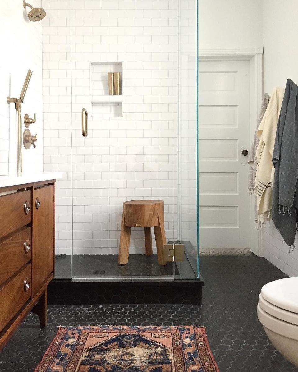 bathrooms with black white hexagons