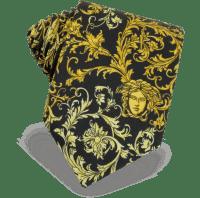 Versace Black Gold Black Ornamental Silk Skinny Tie at