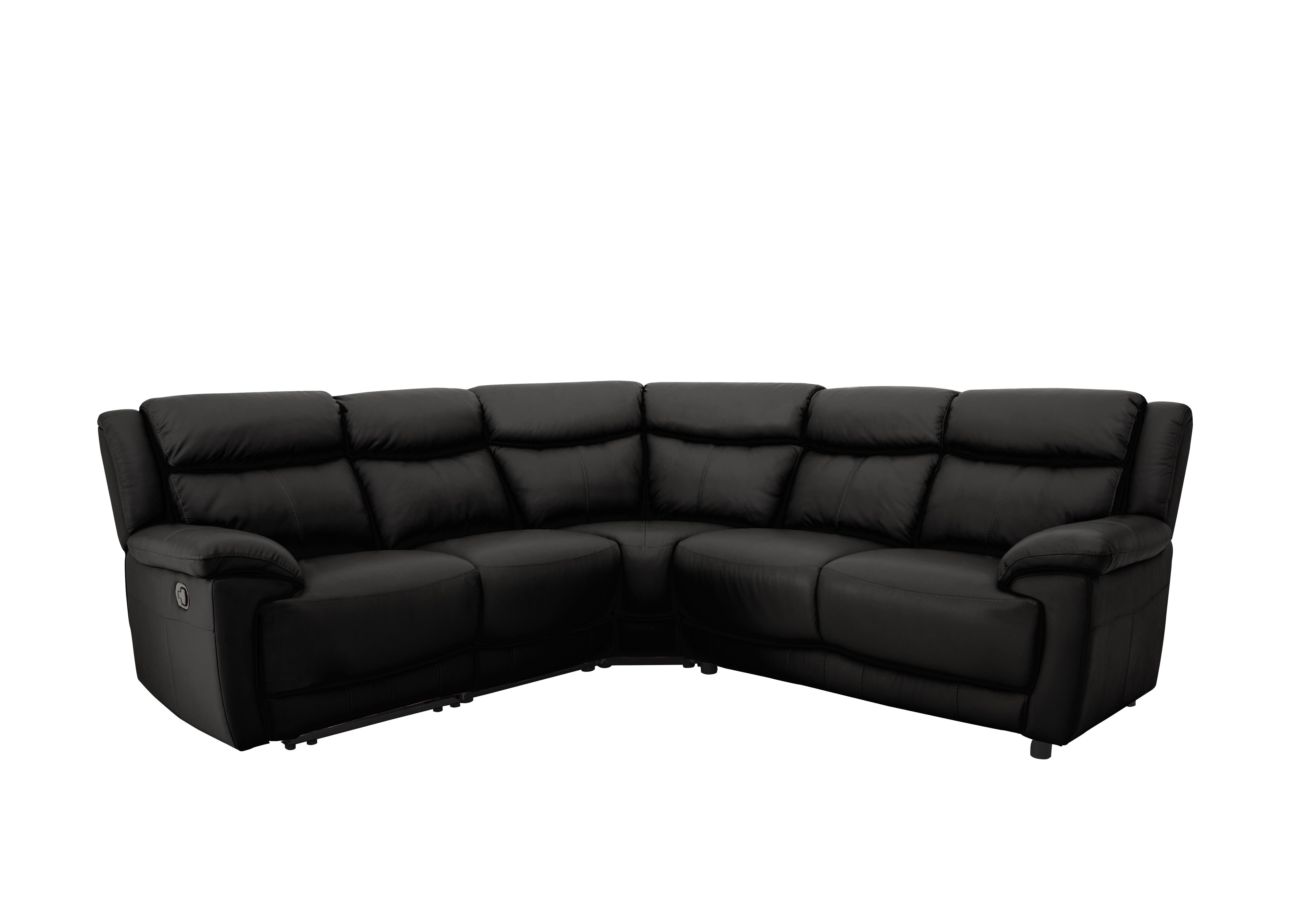 corner sofa bed recliner black leather texture touch world of furniture