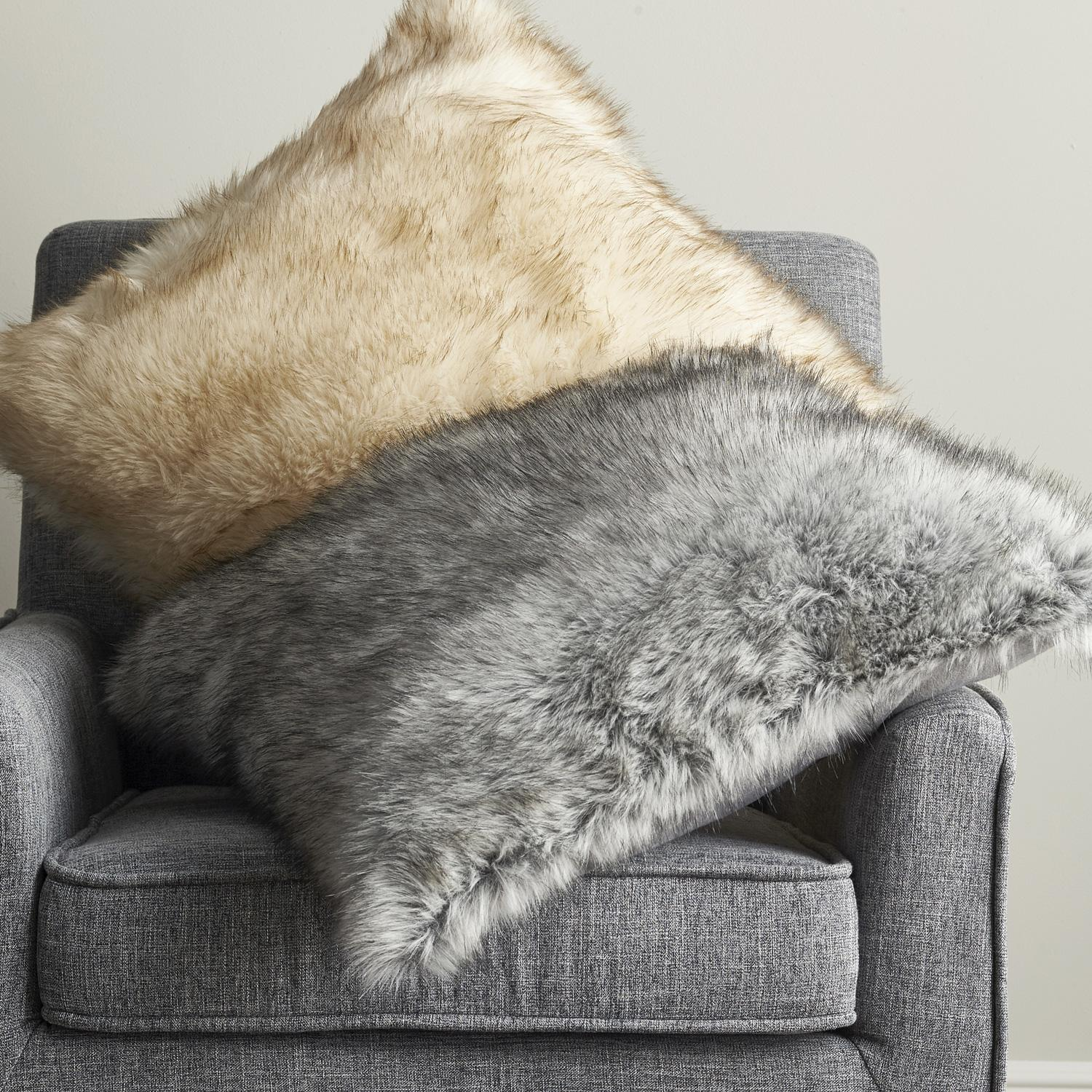 Arctic Fox Faux Fur Pillow Cover  The Company Store