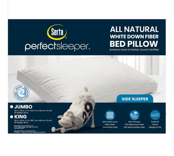 perfect sleeper down fiber pillow for side sleepers