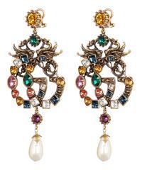 Crystal Double-G Dragon Earrings | Liberty London