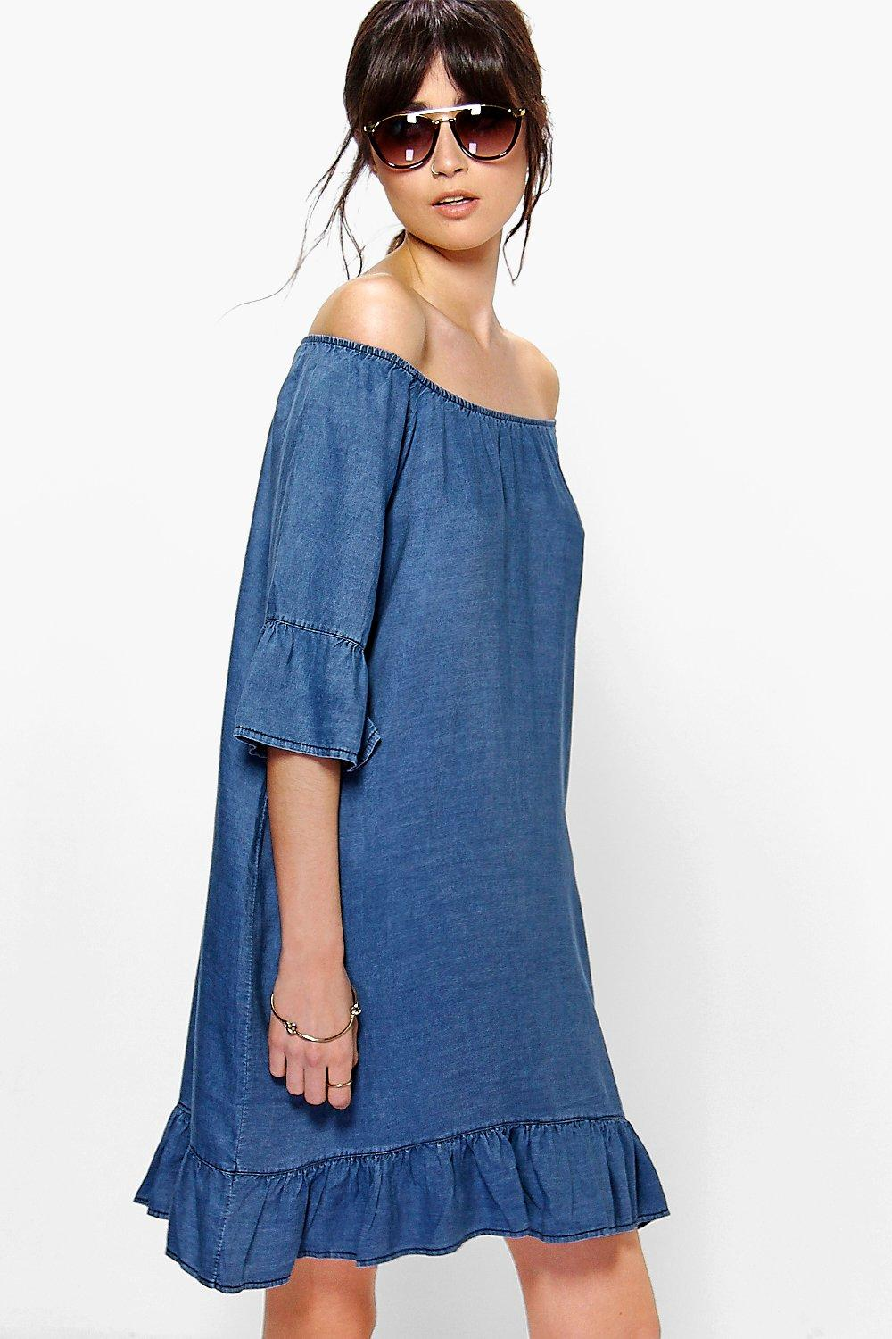 Off the Shoulder Denim Dress with Ruffled Sleeves