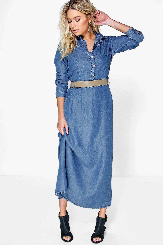 Denim Long Sleeve Maxi Dress