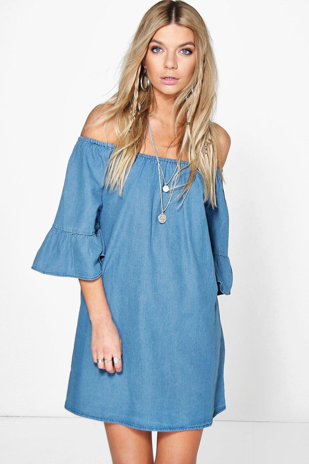 Off Shoulder Ruffle Dress with Denim
