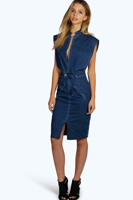 Open Front Denim Dress