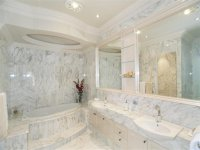 French provincial bathroom design with floor-to-ceiling ...