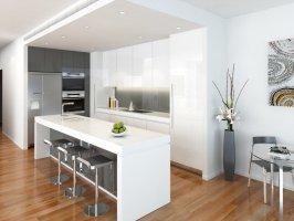 Modern island kitchen design using floorboards   Kitchen ...