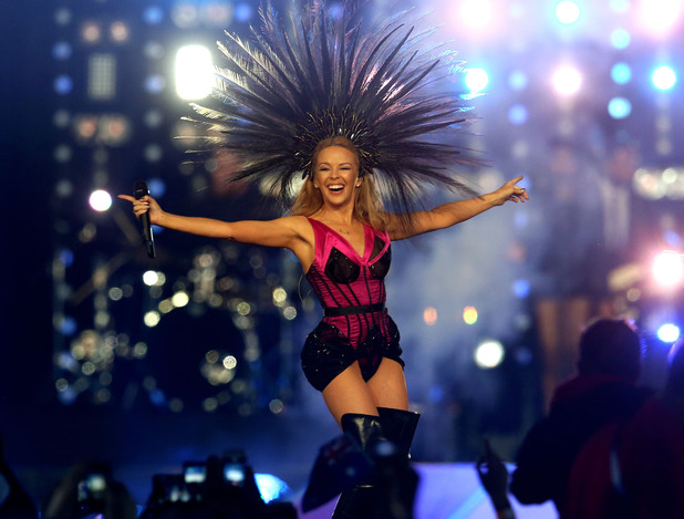 Kylie Minogue gets the crowd cheering