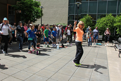 Zumba workout before a CROP Hunger Walk