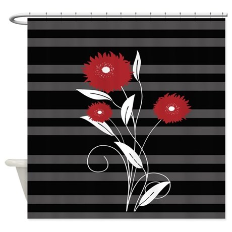 Bathroom d 233 cor gt modern red black and gray floral shower curtain