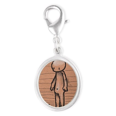 Standing guy Silver Oval Charm