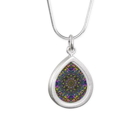 Mandala Silver Teardrop Necklace