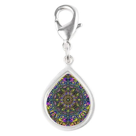 Mandala Silver Teardrop Charm