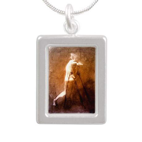 Figure erasing Silver Portrait Necklace